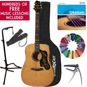 Learn To Play Sawtooth Acoustic Guitar with D?Addario Strings and Chromacast Stand, Picks, Capo, Strap, Case, and Free Music Lessons -  Dreadnought Folk Guitar with Spanish Pickgaurd