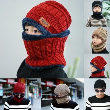 SUNSIOM Winter Beanie Hat Scarf Set Fleece Warm Snow Ski Cap for Kids Boys Gilrs Men