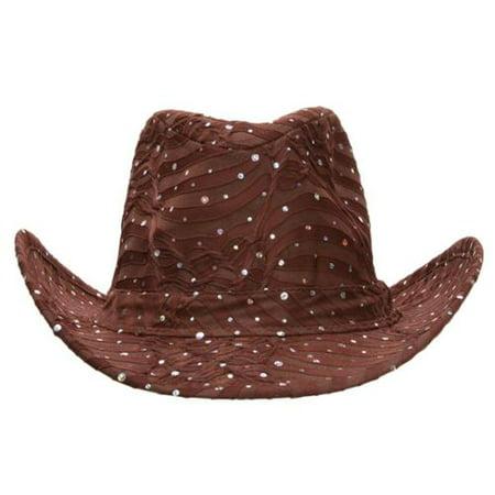 TopHeadwear Glitter Sequin Trim Cowboy Hat (Gold Glitter Top Hat)