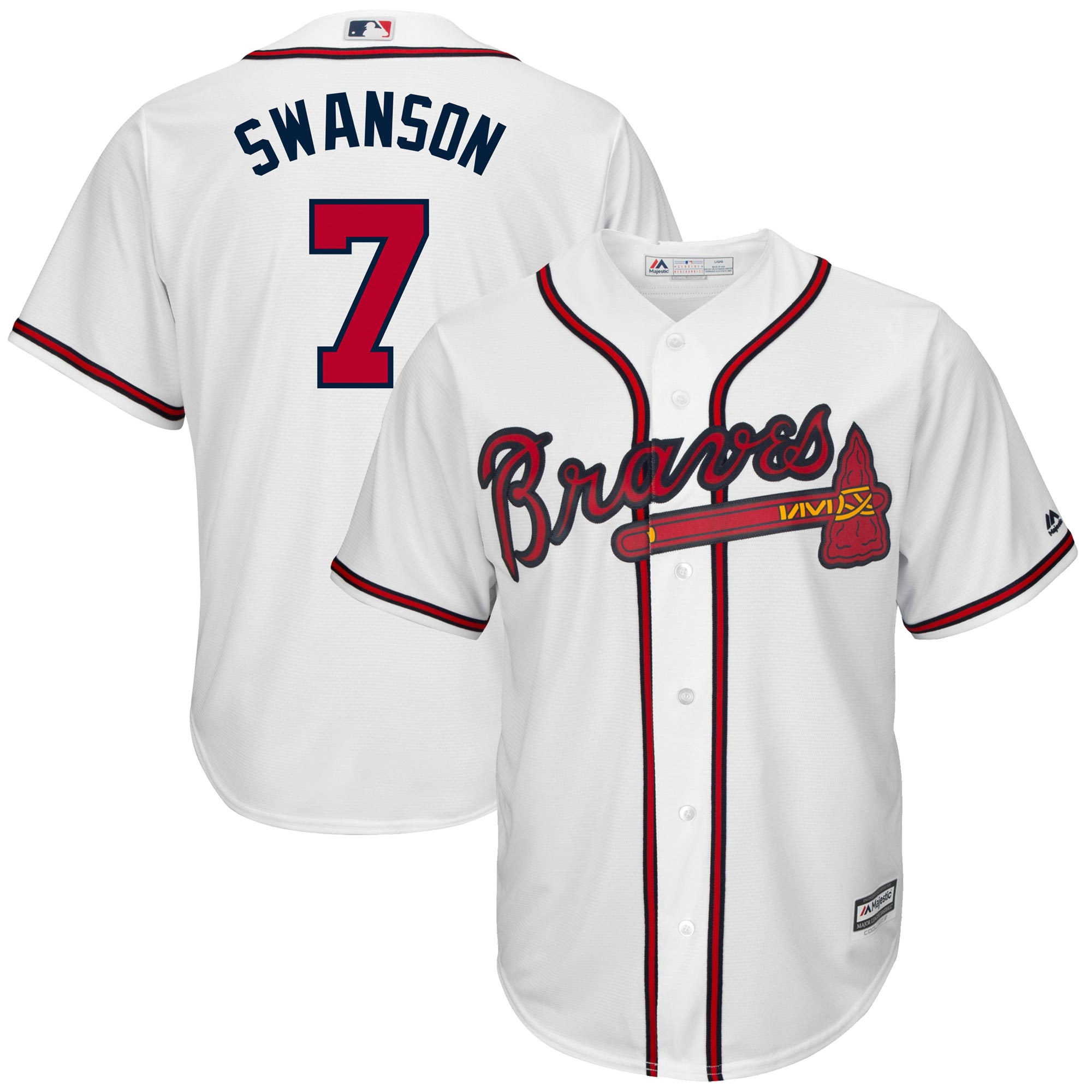 Dansby Swanson Atlanta Braves Majestic Home Official Cool Base Replica Player Jersey - White