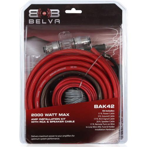Belva BAK42 Complete 4 Gauge Amplifier Amp Wiring Kit w// 2 Channel RCA Cable