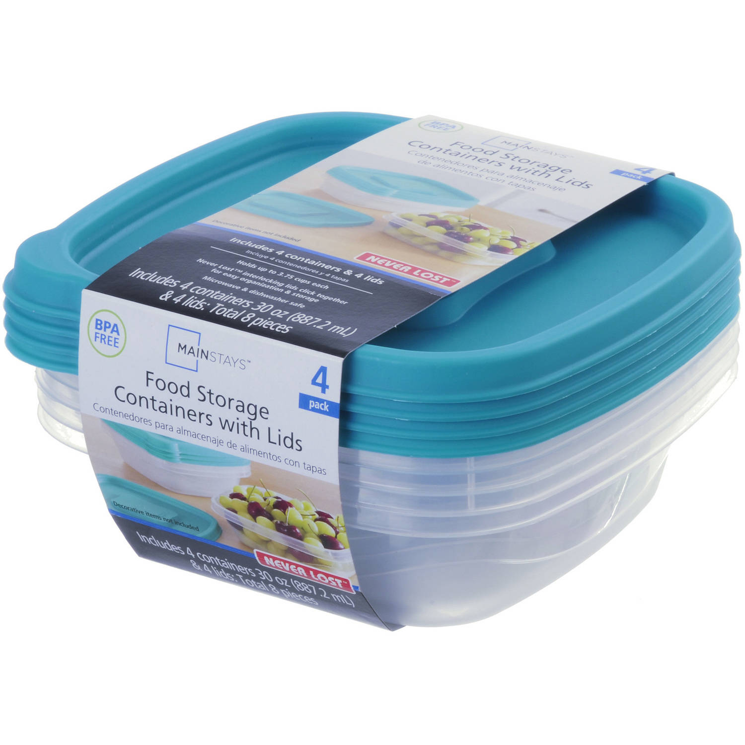 Mainstays Never Lost 30 Oz Food Storage Containers With Lids, 4 Count