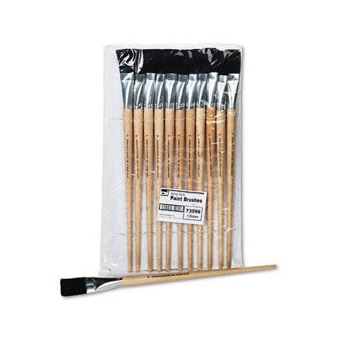 Charles Leonard Co. Flat Fine-Grade Natural Bristle Easel Brush, Hardwood Handle, 1'' Wide, 12 per pack