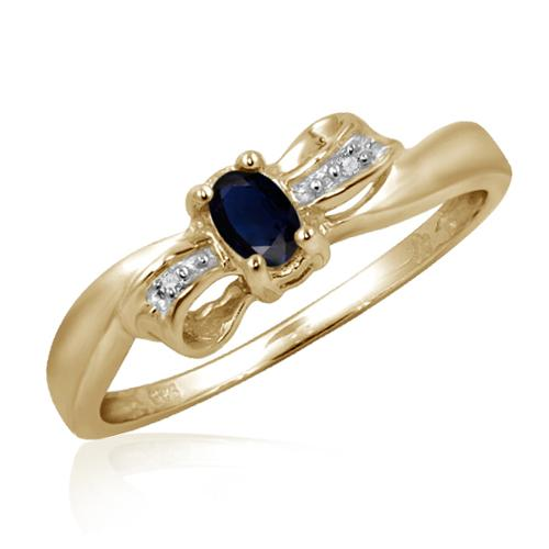 JewelonFire Sapphire Gemstone and Accent White Diamond Bow Ring
