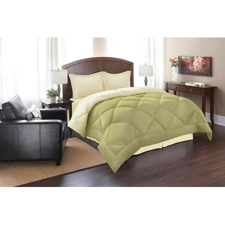 Down Alternative 3pc Comforter Set-Full/Queen, Sage/Cream