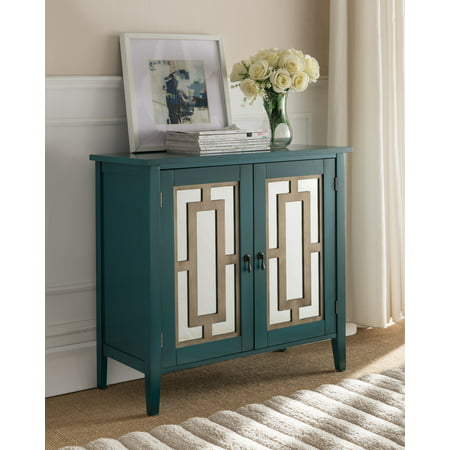 - Hunter Antique Blue Wood Contemporary Accent Entryway Sofa Display Table With Mirrored Storage Cabinet Doors