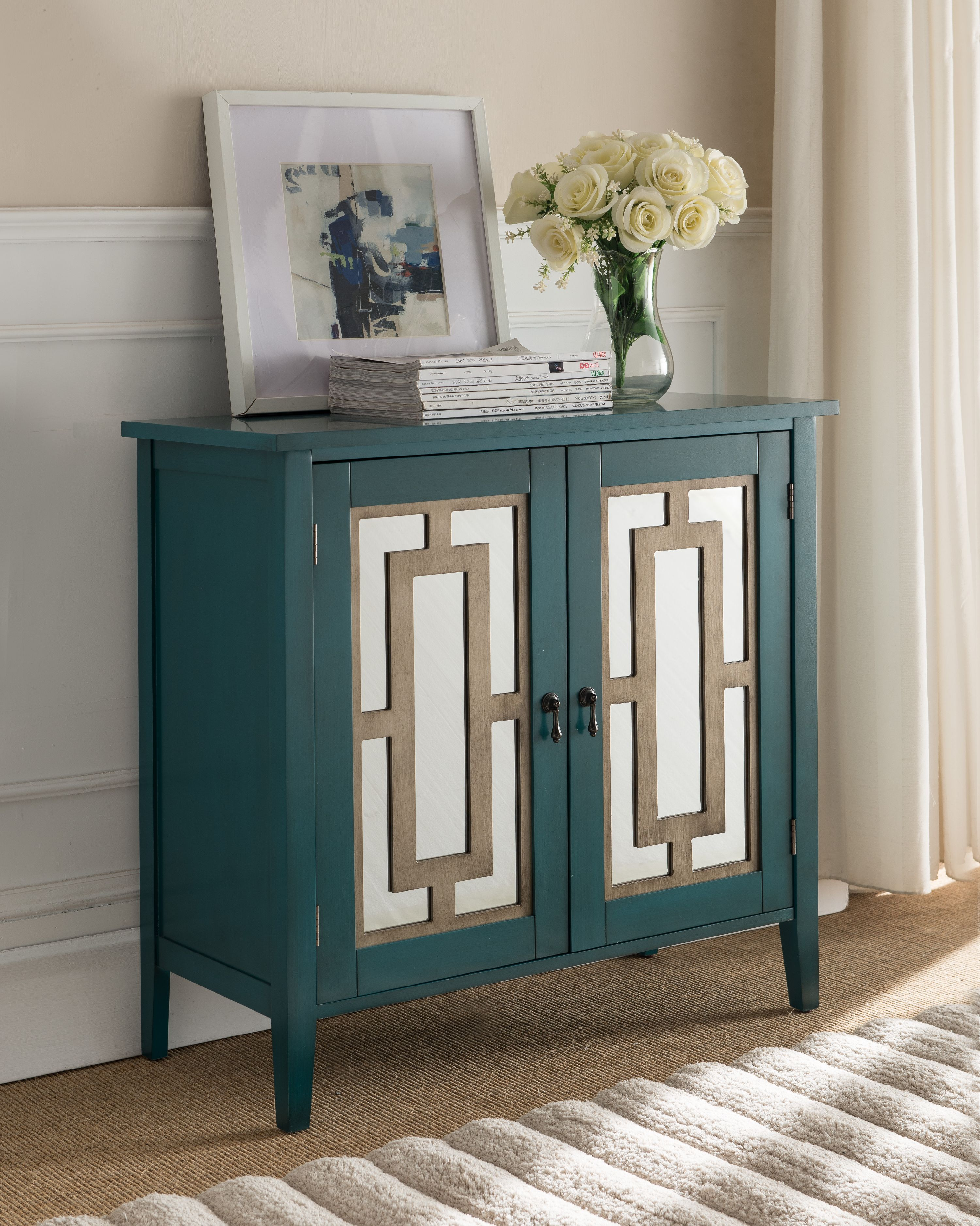 antique blue wood accent entryway sofa display table with mirrored storage cabinet doors image 1