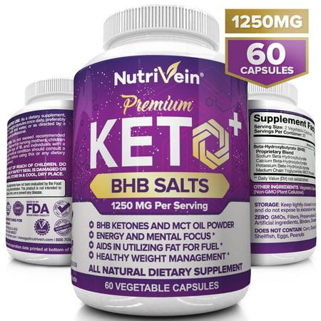 Nutrivein Keto Diet Pills 1250mg - Advanced Ketogenic Diet Weight Loss Supplement - BHB Salts Exogenous Ketones Capsules - Effective Ketosis Diet Fat Burner, Carb Blocker, Appetite Suppressant, 60