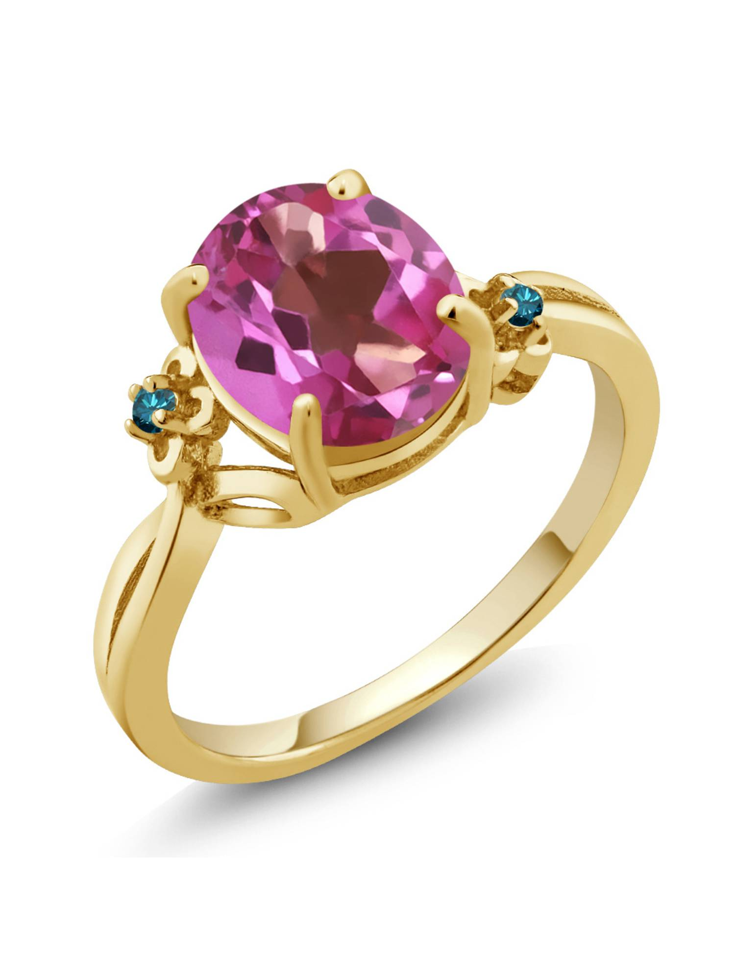 2.73 Ct Oval Pink Mystic Topaz Blue Diamond 18K Yellow Gold Plated Silver Ring by