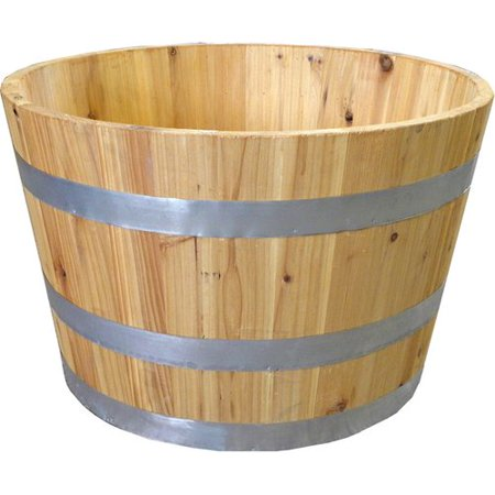 Real Wood Products Wine Half Solid Wood Barrel Planter