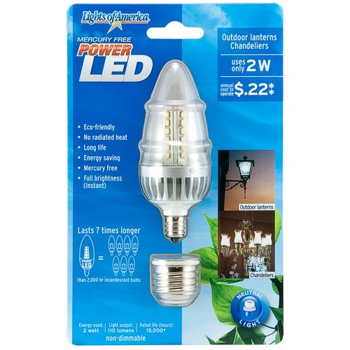 Lights of America LED Bulb Flame Tip Base and Adapter