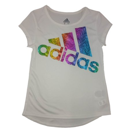 Adidas Girls White Metallic Rainbow  Athletic T-Shirt  Work Out Tee Shirt