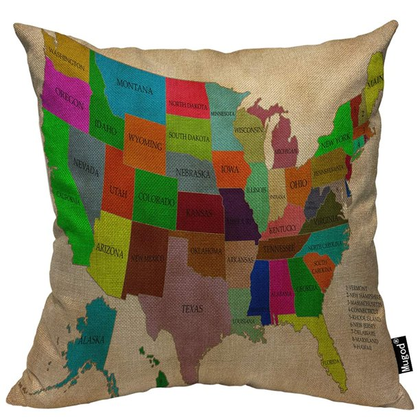 Mugod American Usa Map Pillow Cover States With Red Pink Blue Green Purple Yellow Orange Sign Decorative Cotton Linen Square Cushion Covers Standard Pillowcase Couch Sofa Bed Men Women 18x18 Inch Walmart Com