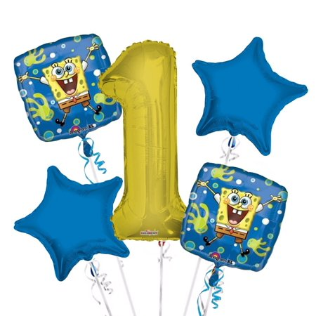 Sponge Bob Balloon Bouquet 1st Birthday 5 pcs - Party Supplies, 1 Giant Number 1 Balloon, 34in By Viva Party - New Years Balloons