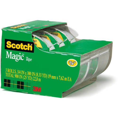 "Scotch Magic Tape, Refillable Dispenser, 3/4"" X 300"", 3/pack"
