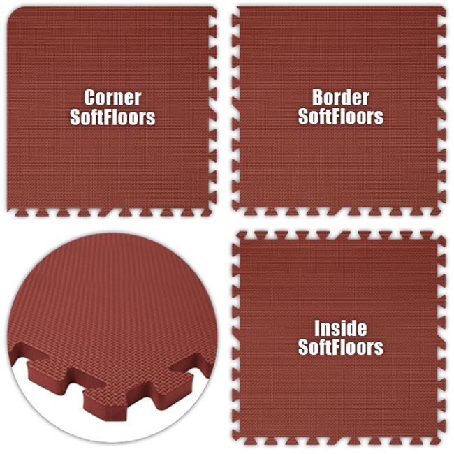 Alessco SFBY1218 SoftFloors -Burgundy -12  x 18  Set - Pack of 8