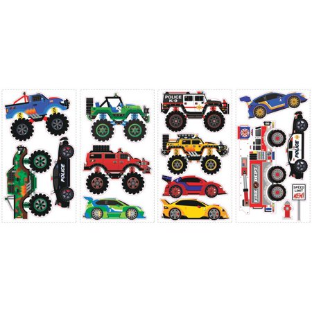 MONSTER TRUCKS Wall Decals FIRE ENGINE POLICE RACE CAR JEEP Room Decor Stickers](Race Car Room Decor)