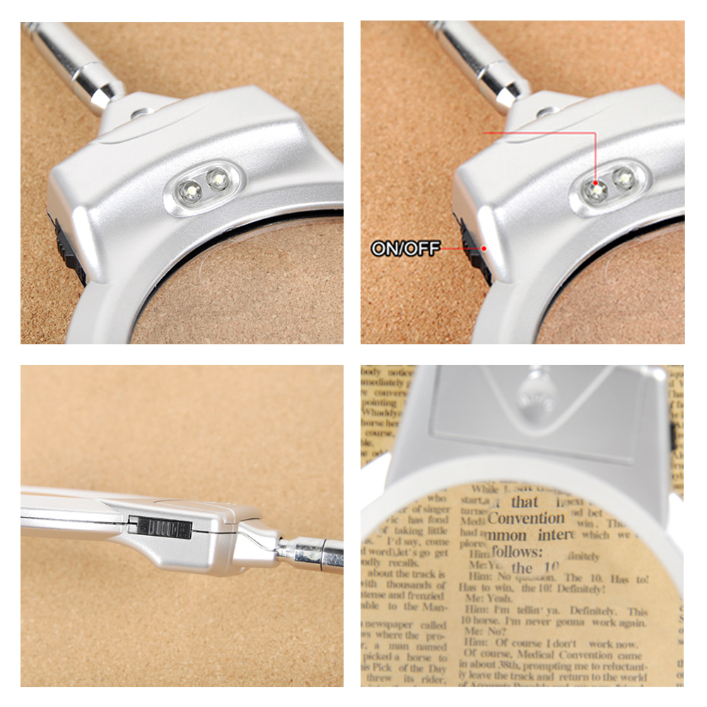 5X//10X//15X//20X Hands Free Magnifying Glass Desk Lamp Bright LED Light with Clamp