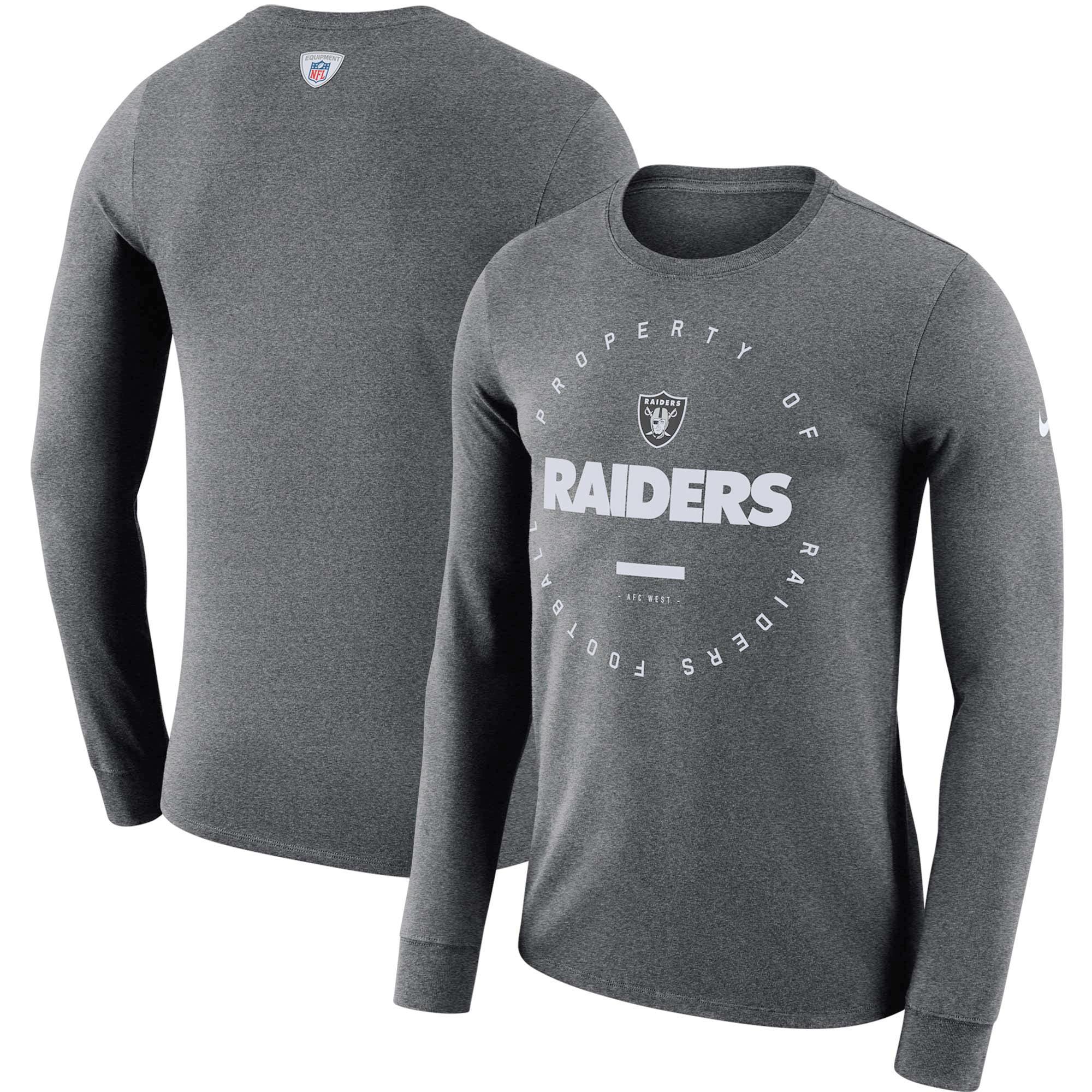Oakland Raiders Nike Sideline Property Of Performance Long Sleeve T-Shirt - Charcoal