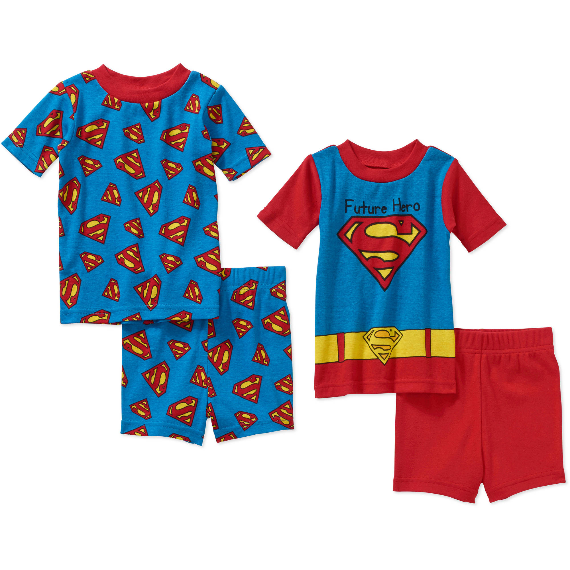 Superman Infant Baby Boy' Mix n' Match Short Sleeve Cotton Tight Fit Pajamas, 4-Pieces