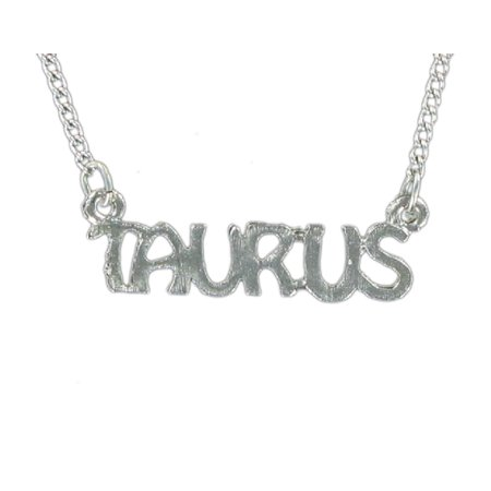 Silver Tone Metal Zodiac Sign Name Plate Pendant Necklace Taurus Astrology