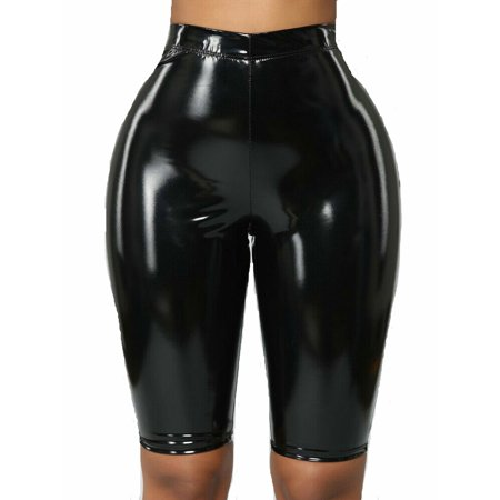 lisenraIn Women Sexy Wet Look Faux Leather PU Clubwear High Waist Skinny Shorts Pants ()