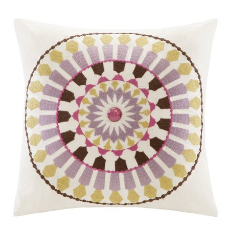 Echo Vineyard Paisley Square Pillow, 16 by 16-Inch, White