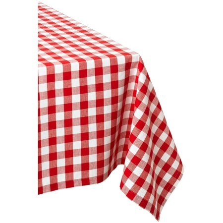 Design Imports Checkers Red & White Tablecloth 60 X 120