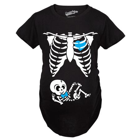 Maternity Baby Boy Skeleton Cute Pregnancy Bump Tshirt (Black) (Pregnant Skeleton Shirt)