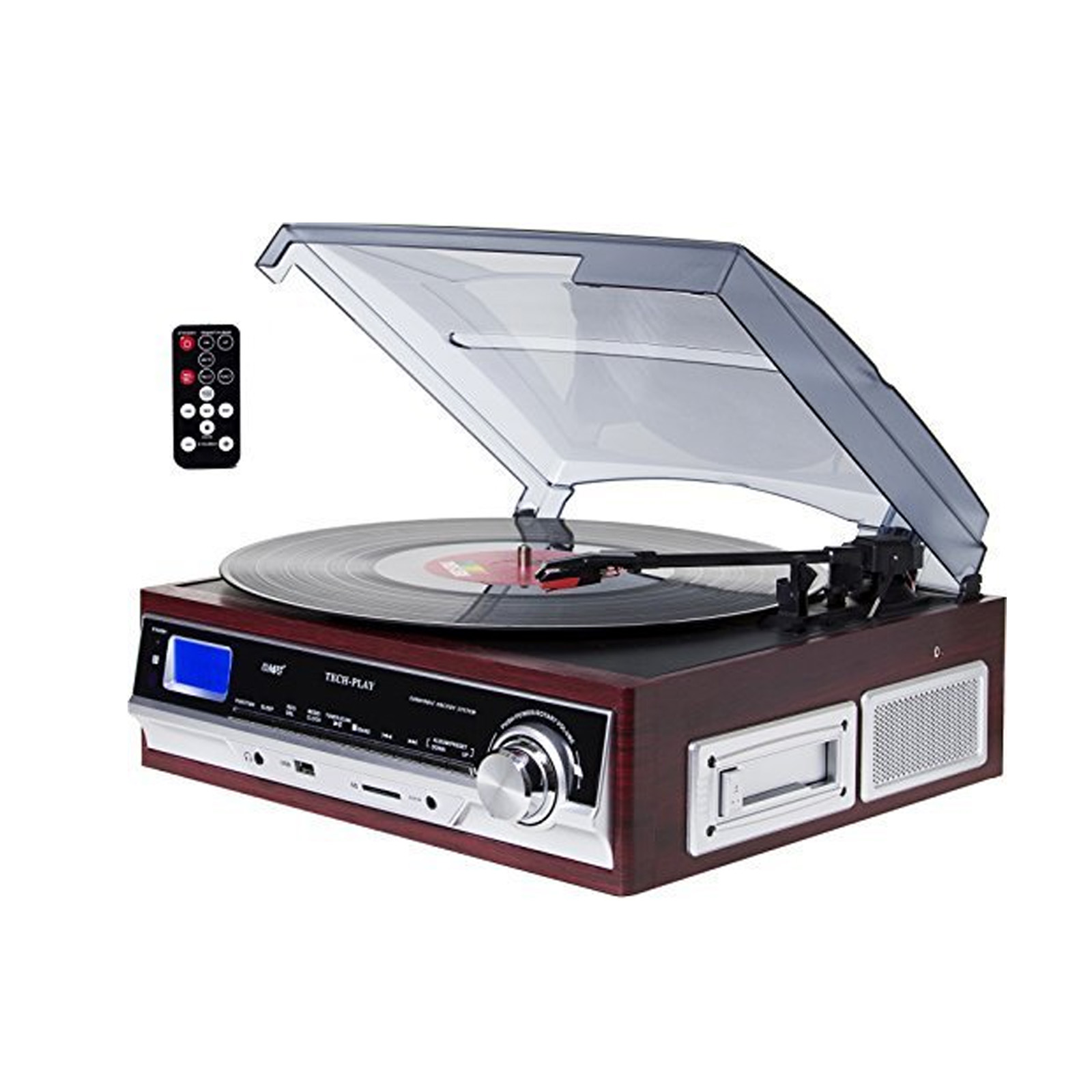 TechPlay 3-Speed Turntable & Cassett player W/SD USB, MP3 Encoding System and