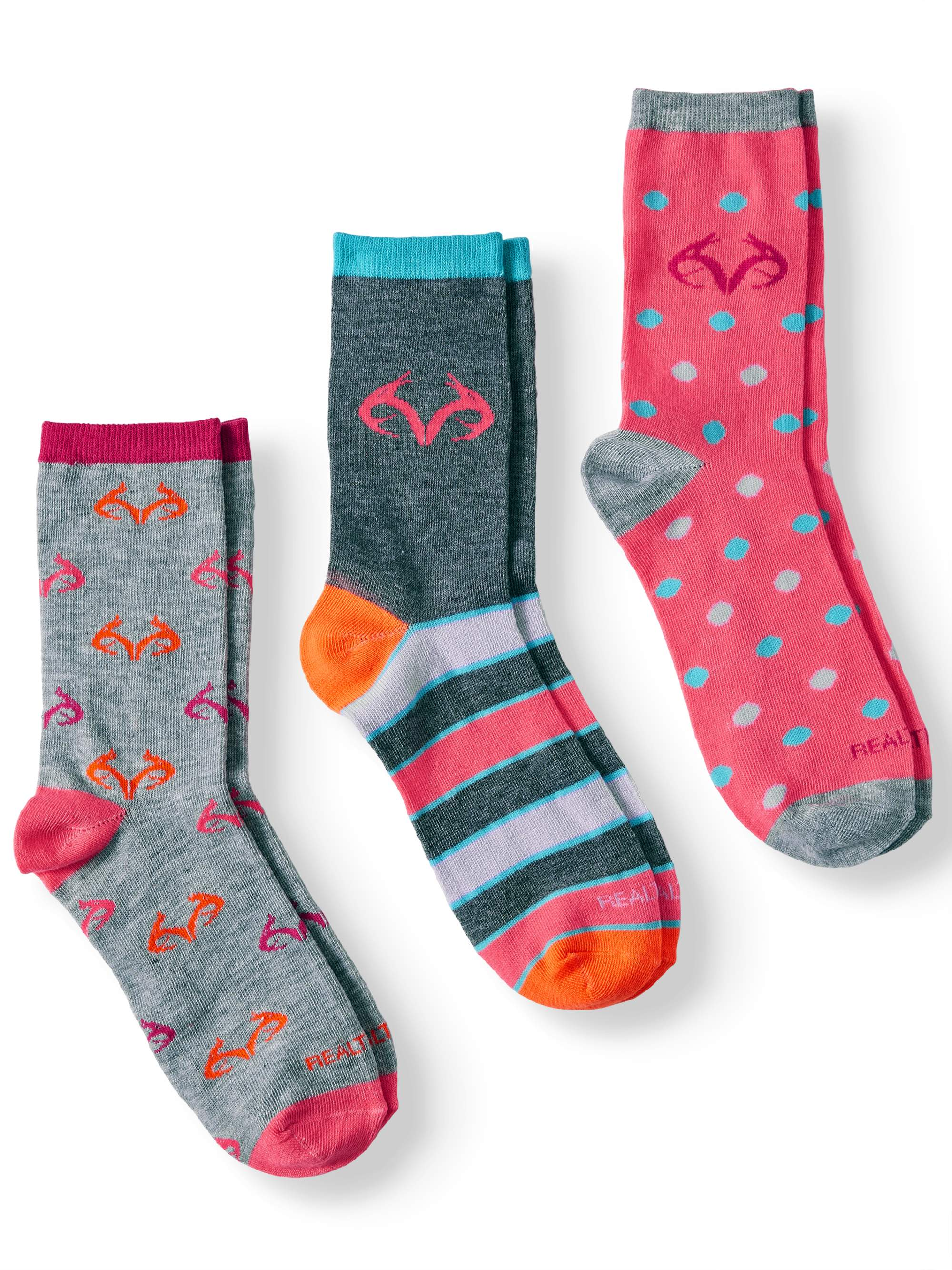 Realtree Novelty Crew Socks, 3 Pairs (Little Girls & Big Girls)
