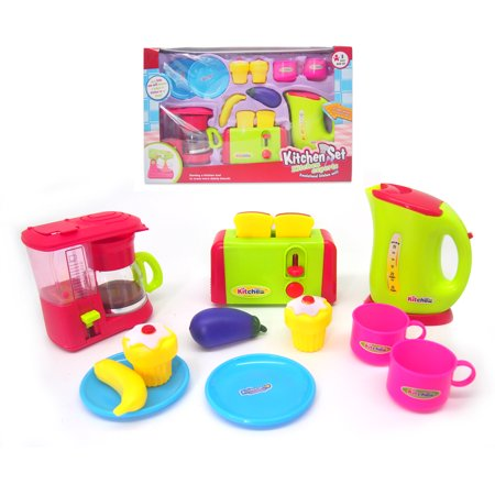 Kitchen appliances playset toy with coffee maker, toaster, kettle, cup and more Prepare your breakfast! Kitchen appliances toy for children. Includes coffee machine, toaster with bread, kettle, cupcakes, kitchen utensils, banana and eggplant. Your little one will become a helper in kitchen in no time! Ideal size for small hands.