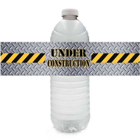 Construction Themed Birthday Parties (Construction Party Water Bottle Labels 24ct | Kids Birthday Decoration)