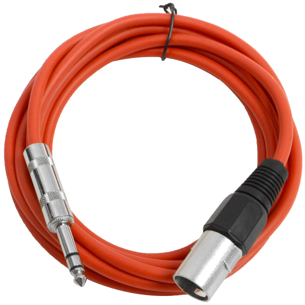 """Seismic Audio  Red 1/4"""" TRS to XLR Male 10' Patch Cable Red - SATRXL-M10Red"""
