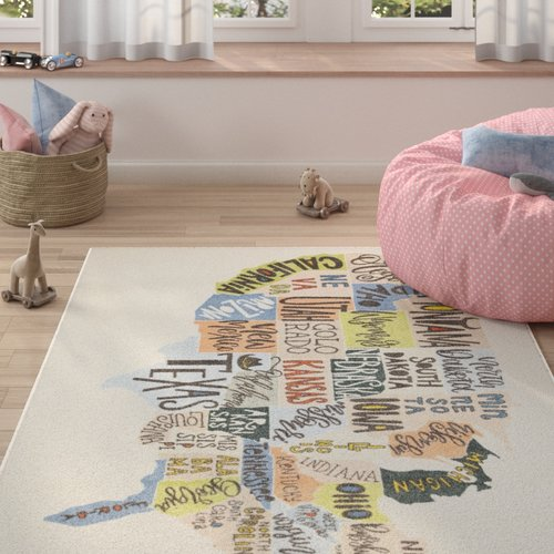 Zoomie Kids Engler States Map Beige/Blue Area Rug