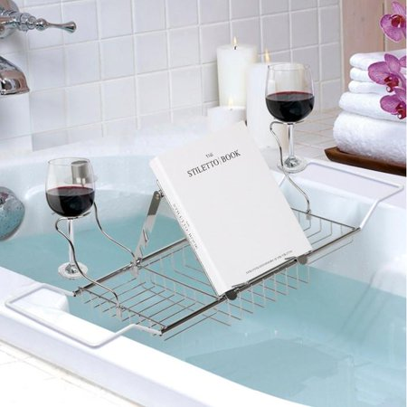 Topeakmart Bathtub Caddy Tray with Book Reading Rack, Wine Glass ...
