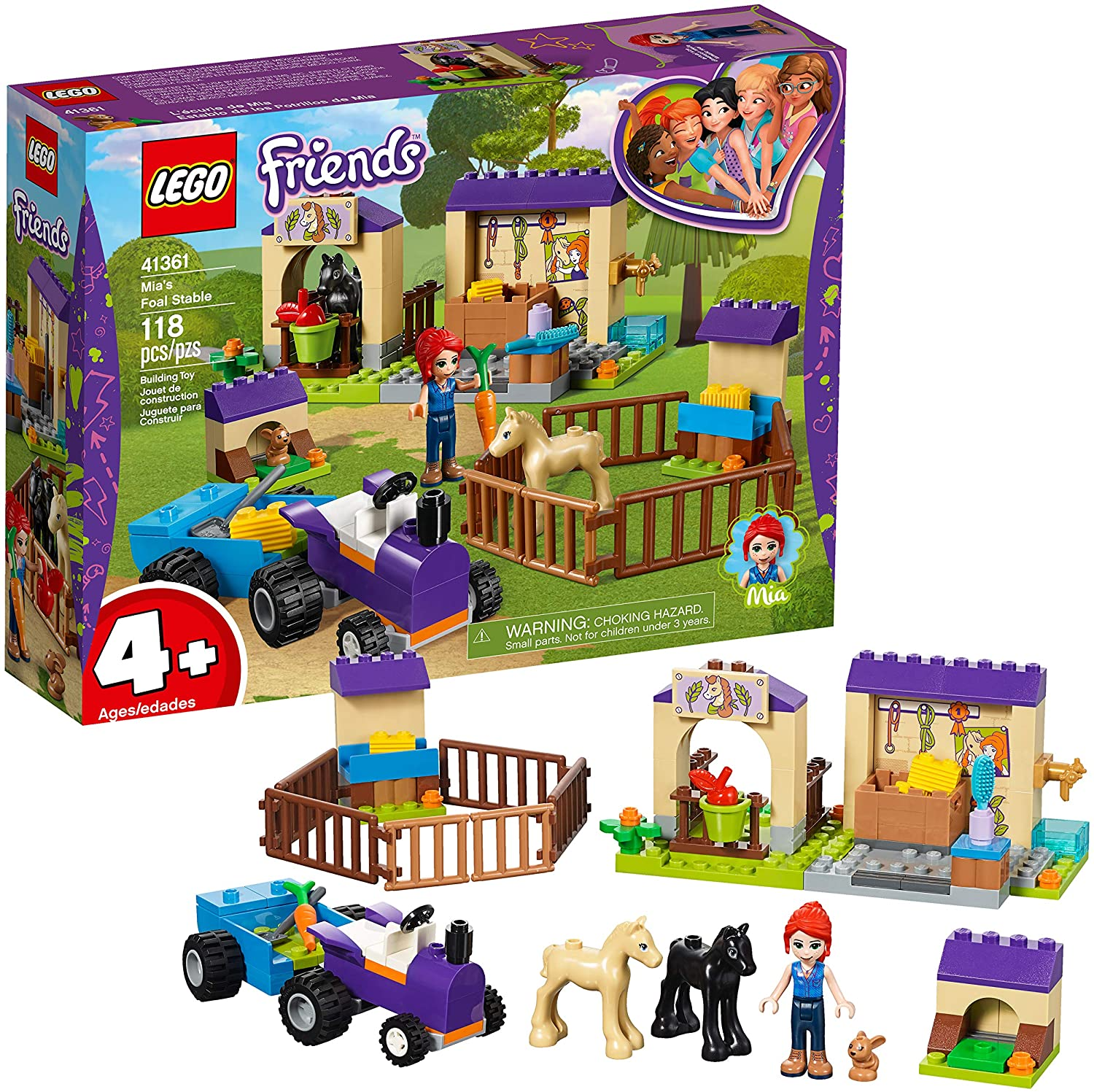 LEGO Friends 4+ Mia's Foal Stable 41361 Building Kit (118 ...