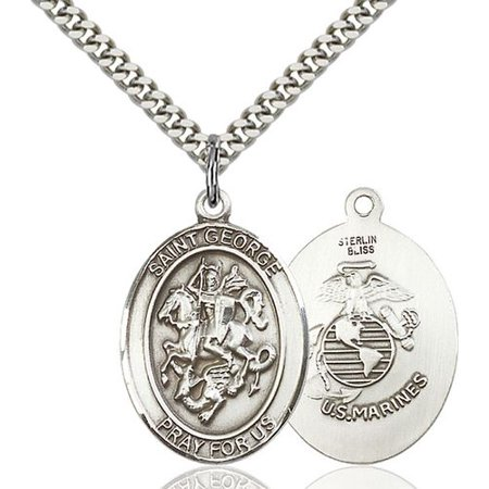 Large Detailed Men's.925 Sterling Silver Saint St. George Medal Pendant 1 x 3/4