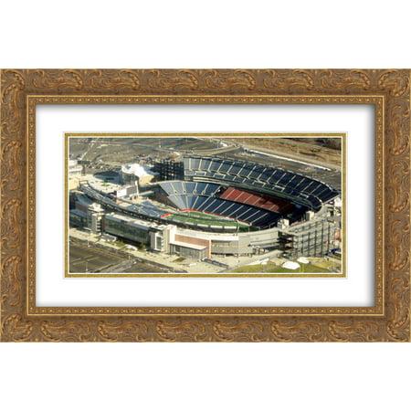 Gillette Stadium Framed - Gillette Stadium 2x Matted 24x18 Gold Ornate Framed Art Print from the Stadium Series