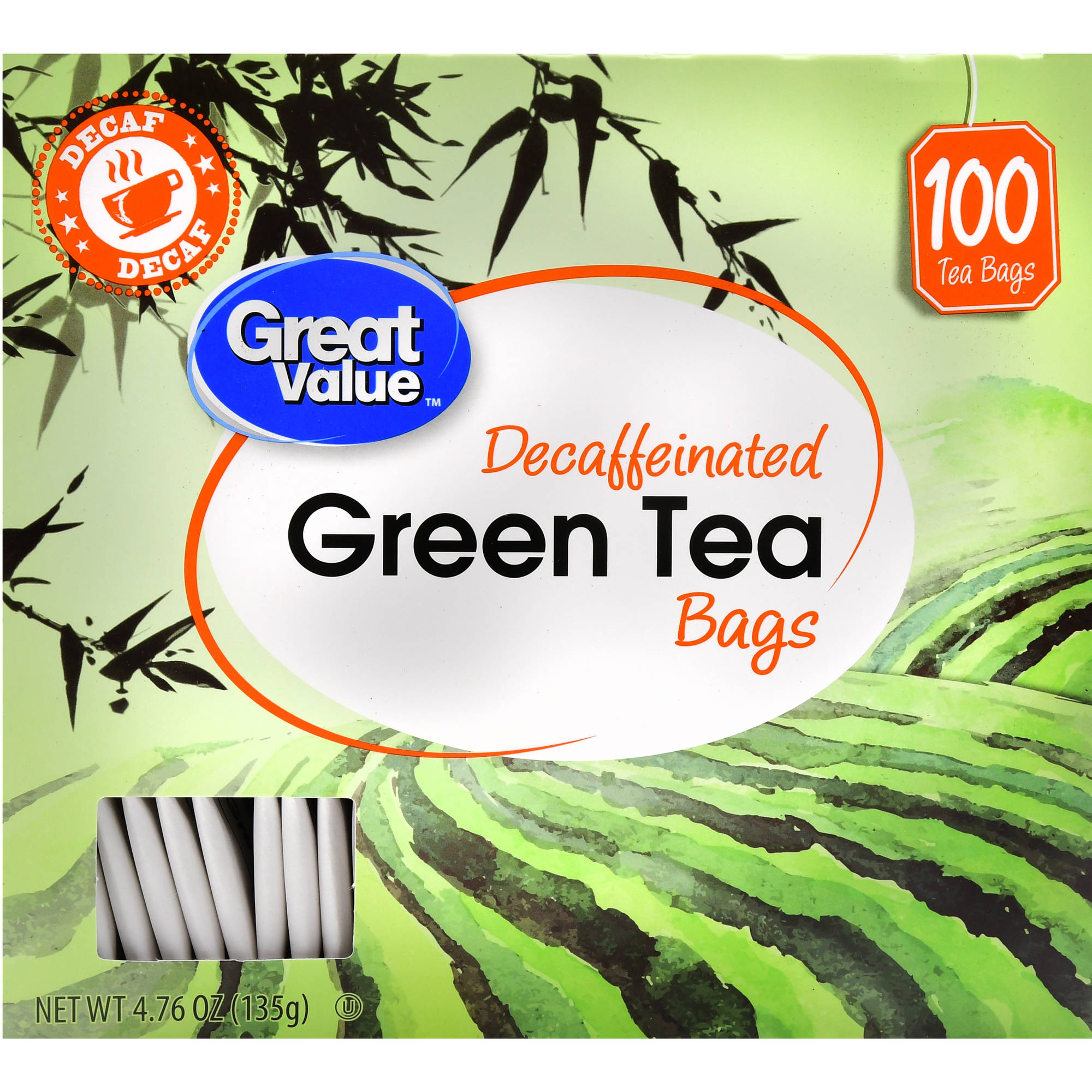 Great Value Decaf Green Tea Bags, 4.76 oz, 100 Count