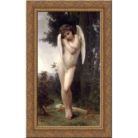Wet Cupid 17x24 Gold Ornate Wood Framed Canvas Art by Bouguereau, William Adolphe