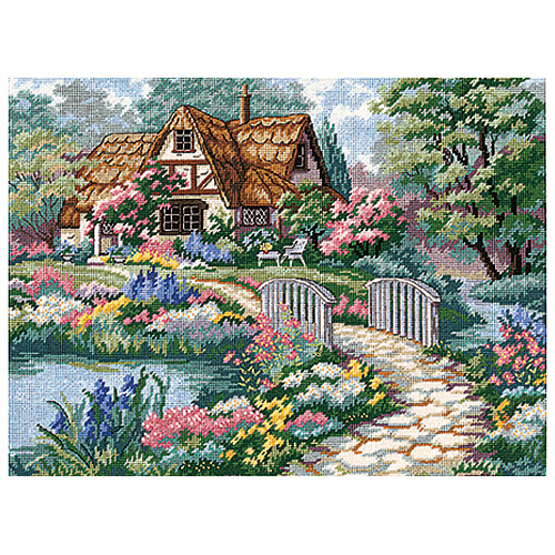 """Dimensions """"Cottage Retreat"""" Needlepoint Kit, 16"""" x 12"""", Stitched In Thread"""