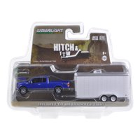 2015 Ford F-150 and White Car Hauler Hitch & Tow Hobby Exclusive 1/64 Diecast Model Car by Greenlight