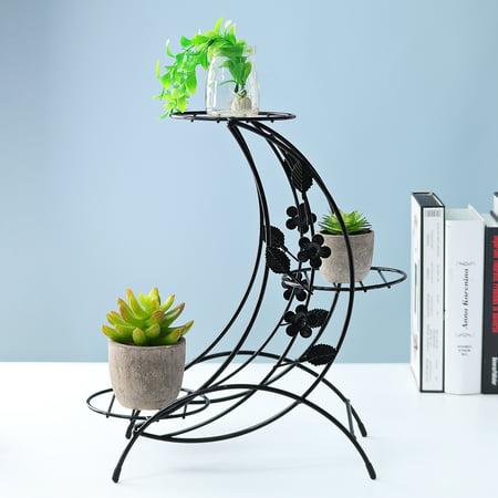 Plant Display Stand Garden Decor Flower Pot Shelve Holder Rack Indoor Iron Metal - image 4 de 8