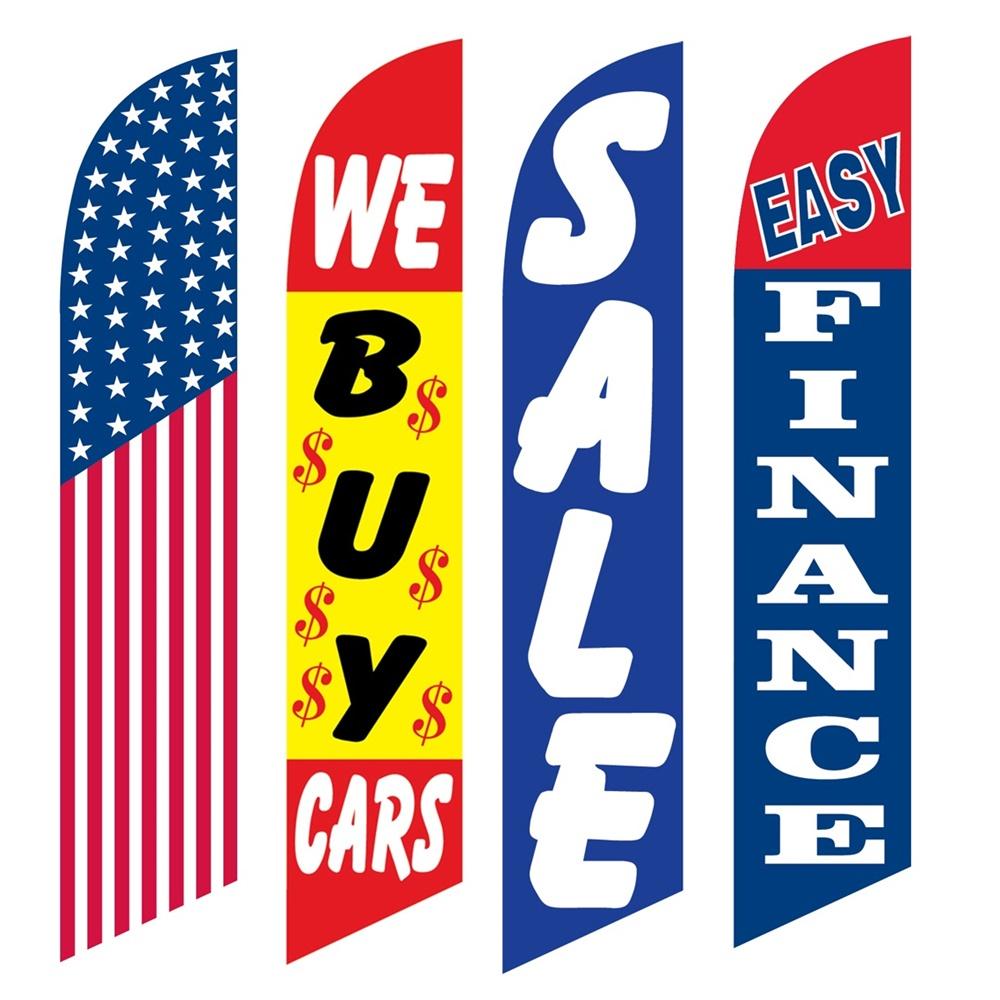 4 Advertising Swooper Flags America We Buy Cars Sale Easy Finance