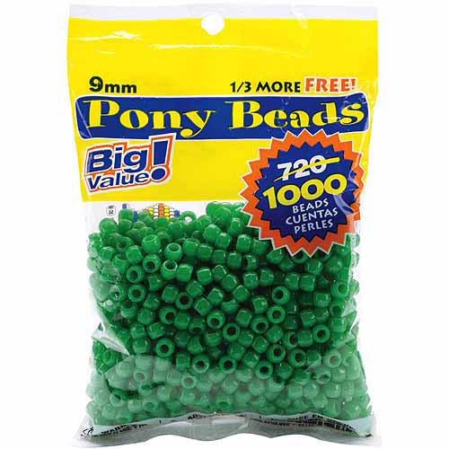 Pony Bead Big Value Pack, 9mm, 1000pk, Opaque Green