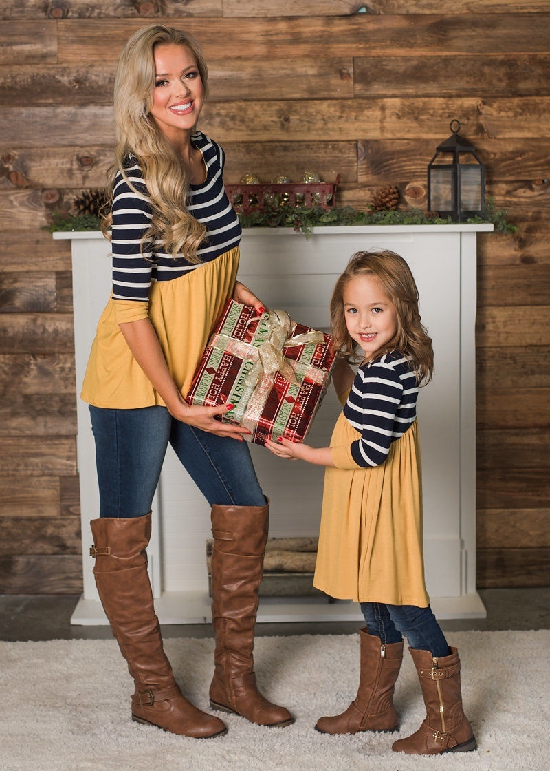 Spring Cotton Mommy And Me Clothes Plaid Print Mom And