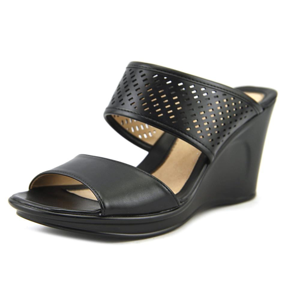 Naturalizer Optic  Women  Open Toe Synthetic Black Wedge Sandal