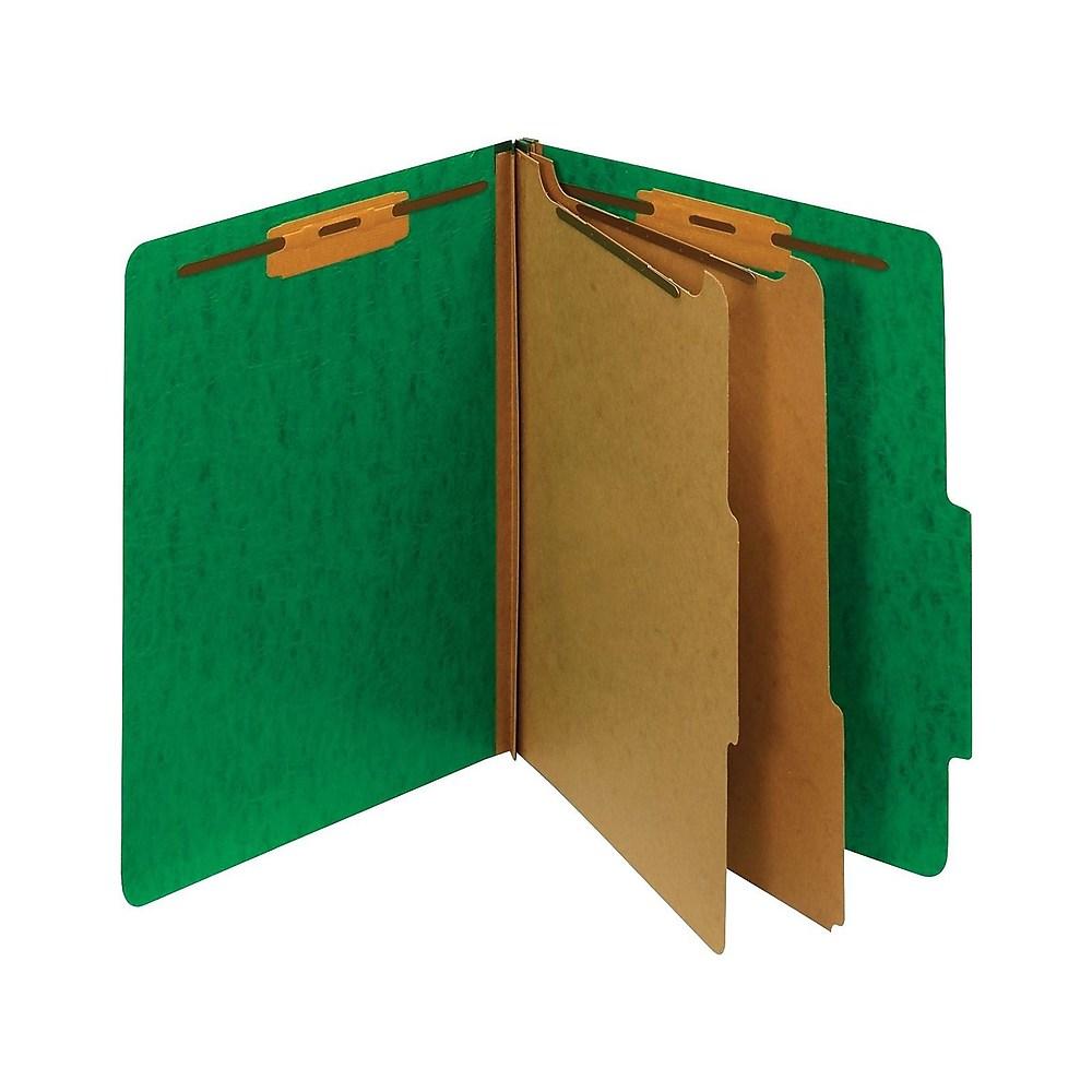 Staples Moisture-Resistant Class. Folders 2/5-Cut Top Tab Ltr Gn 10/BX 614621