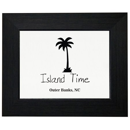 Outer Banks, NC - Island Time - Palm Tree Silhouette Framed Print Poster Wall or Desk Mount Options